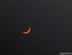Eclipse solaire à travers les lunettes de protection.