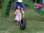 Course de pneus avec Romane